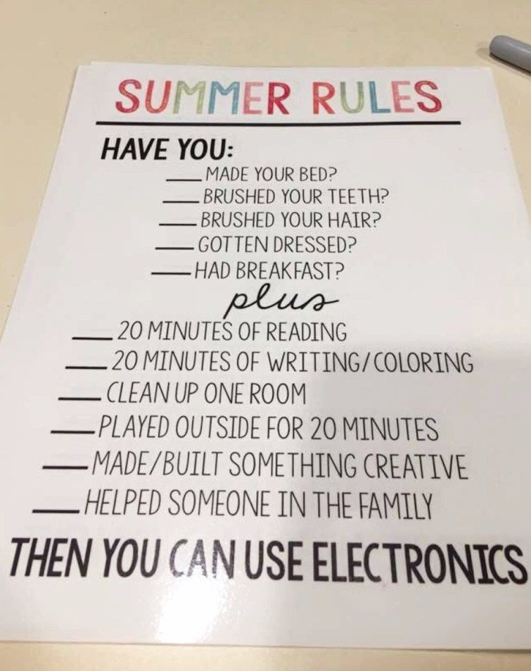 This Is Such A Cute And Smart Idea For Kids During The Summer To Be Sure They Do Necessary Stuff Before Getting On Their Phones Tablets