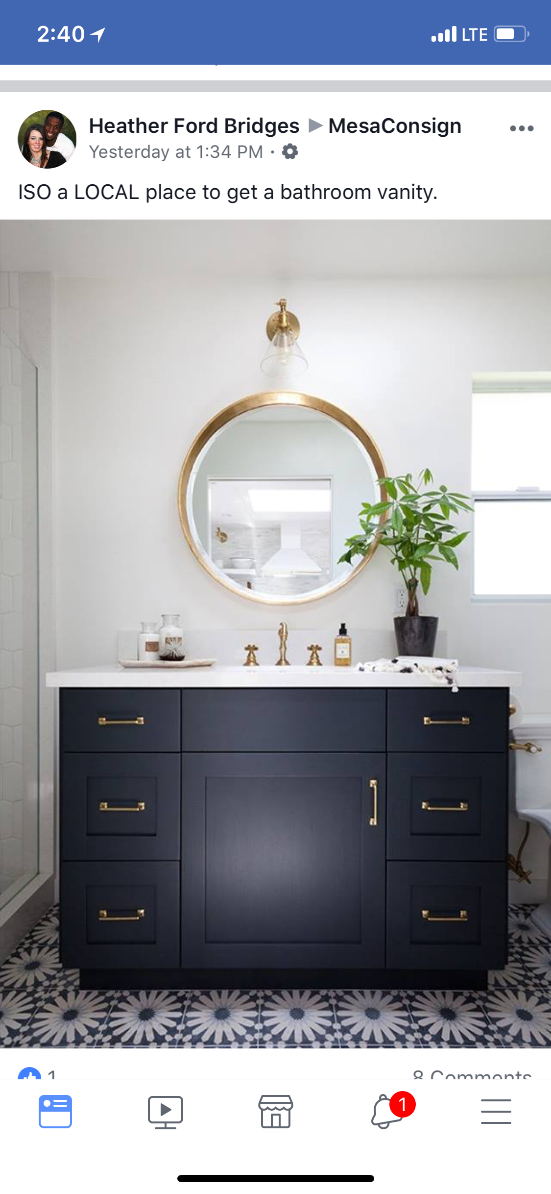 love the blue with gold  blue bathroom vanity blue
