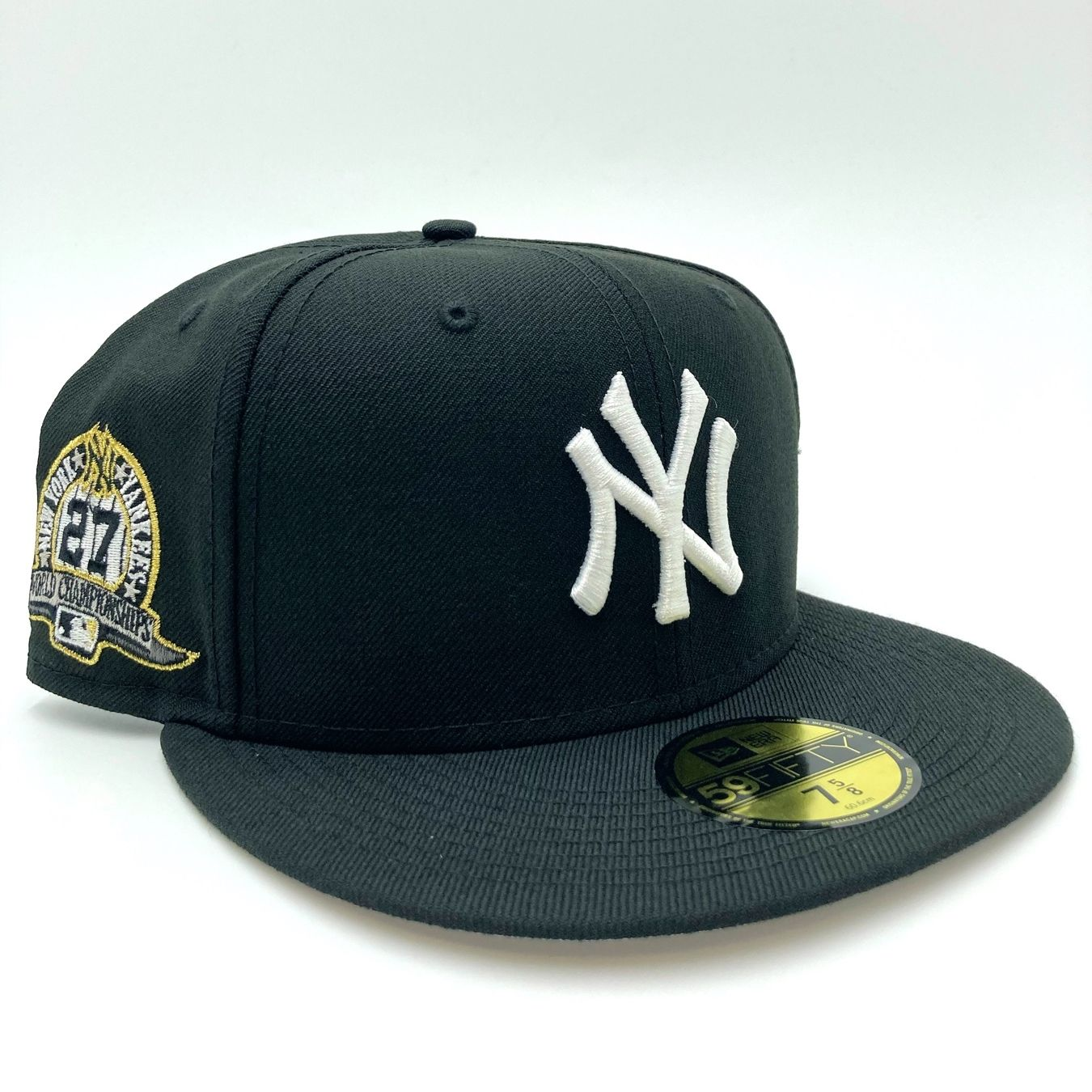 New York Yankees 27 World Champions Side Patch New Era Black And White 59fifty Fitted Hat Fitted Hats Hat Stores Quality Hats