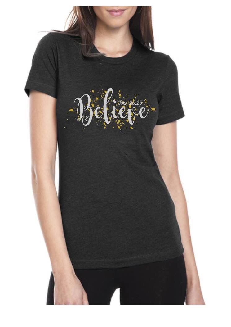 Believe Scripture Shirts Christian Scripture Tee Custom Shirts - Glitter custom vinyl decals for shirts