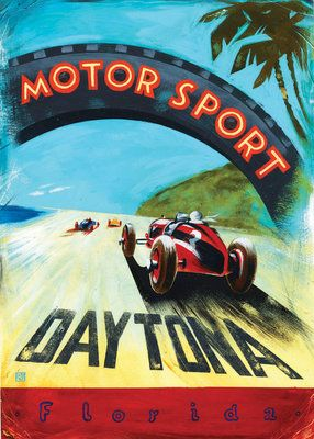Vintage Poster Vintage Perrys Daytona Beach Florida - Sports cars posters