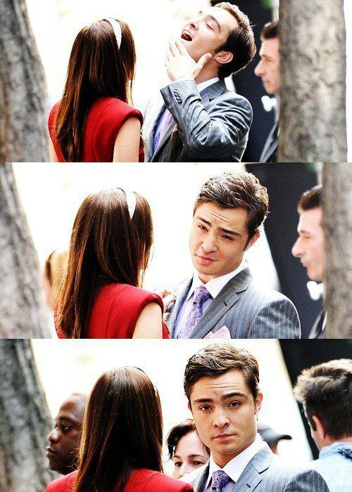 Leighton Meester and Ed Westwick filming gossip girl - i love Ed's faces