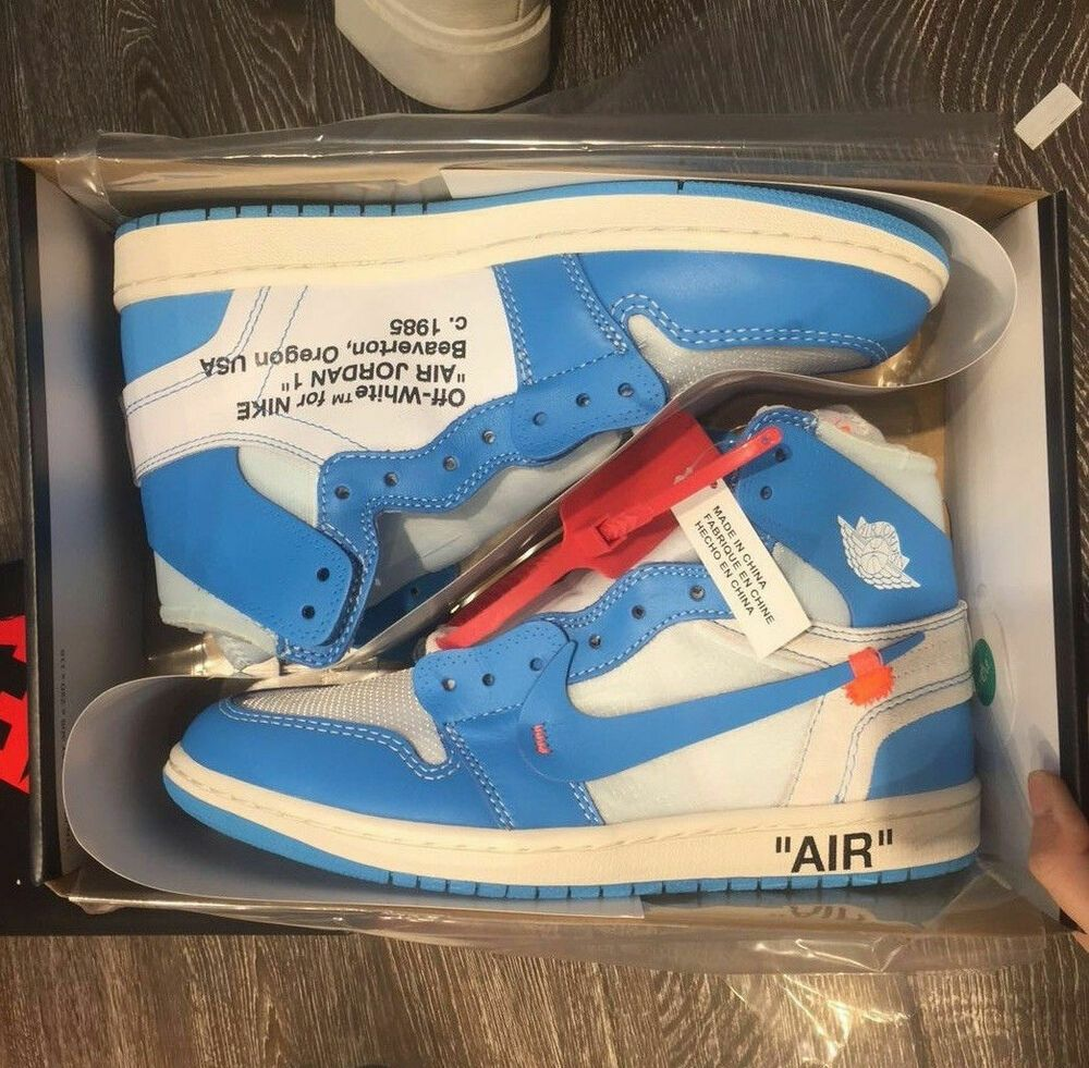 competitive price official site release date: Ad)eBay - Off-White x Nike Air Jordan 1 'UNC' Blue Size 8 UK ...