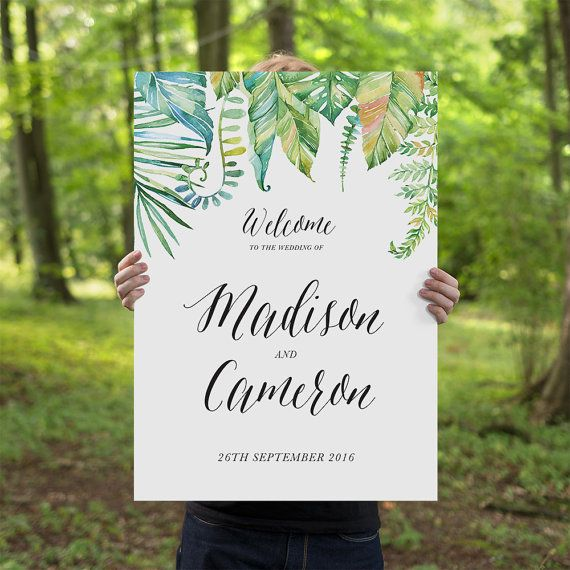 Wedding Signage Ideas: The Tropical Luxe Engagment Wedding Sign From Couture