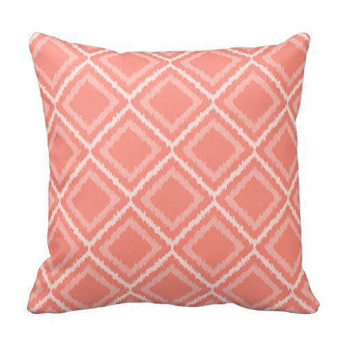 Decorative Cushion Cover|Coral Pink Ikat Pattern Square Throw Pillow Case 16X16 Inches canvas pillow cover http://www.amazon.com/dp/B0123IK2ZE/ref=cm_sw_r_pi_dp_44bdxb1GRGHWK