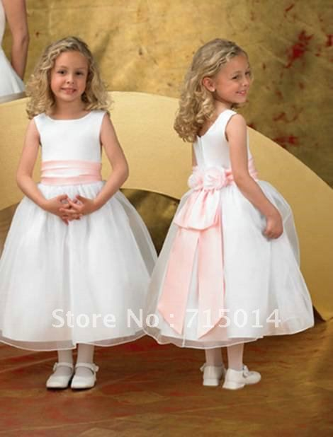 Barato White Belt flor vestido de baile drapeado Organza Pageant vestido da…