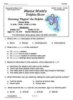 Free 3rd Grade Reading Advertisement Literacy Skill