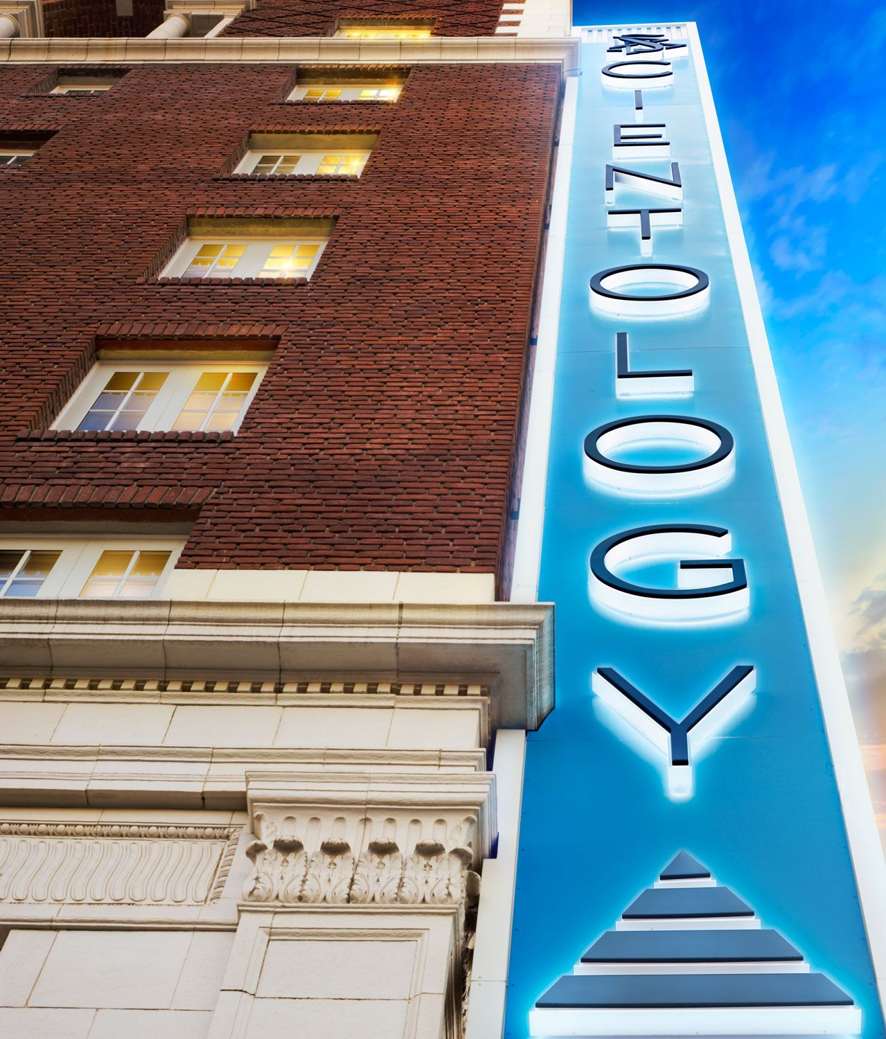 Close up of the Scientology Information Center sign // Church of Scientology of Los Angeles