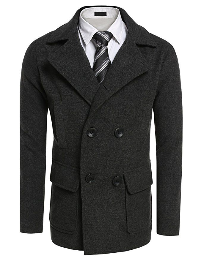 67eb79e6d67 Coofandy Men s Winter Classic Wool Double Breasted Pea Coat