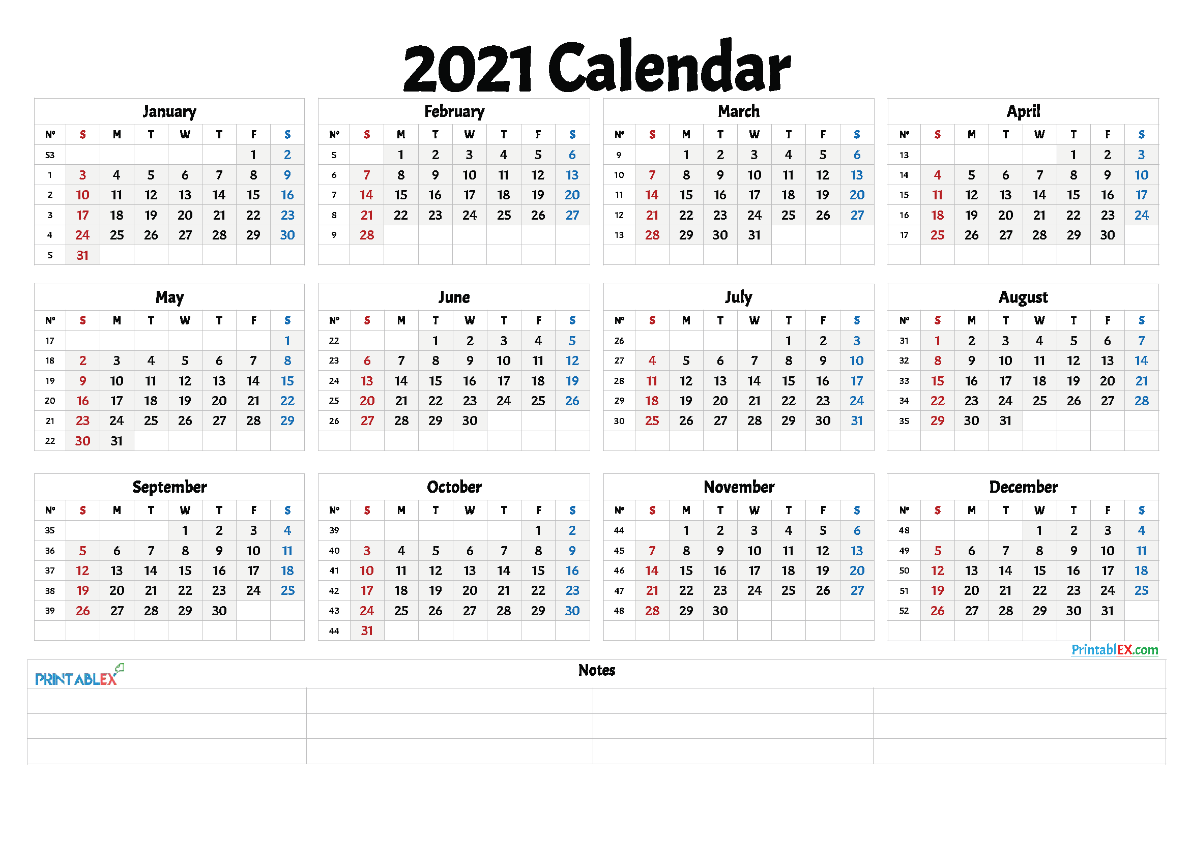 Free Printable 2021 Yearly Calendar with Week Numbers – 21ytw12