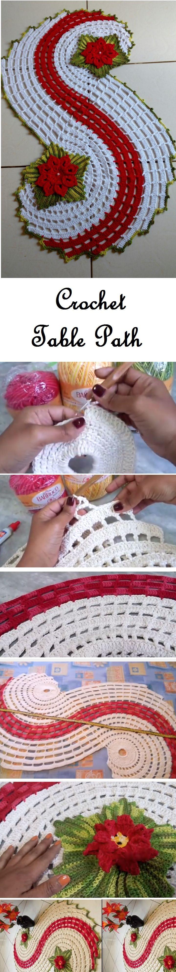 Crochet Table Path | Häkeldeckchen, Deckchen und Häkeln