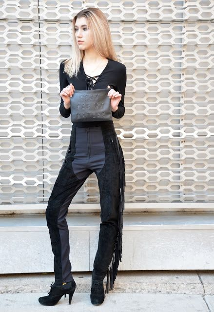42679b53f8 All Black Outfit + All Black + Fringe Pants + Lace-up Bodysuit + Fashion  Blogger + Street Style + OOTD
