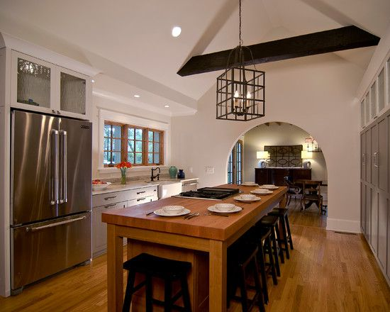 Charming House Remodel in Vintage Design : Sleek Traditional Kitchen Wooden Kitchen Table Copeland Residence