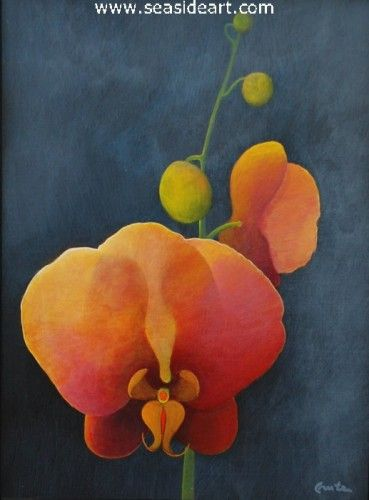 Orchid in the Greenhouse by William Crute. Acrylic painting is 24″ x 18″; frame: 28″ x 22″, frame included.$850.