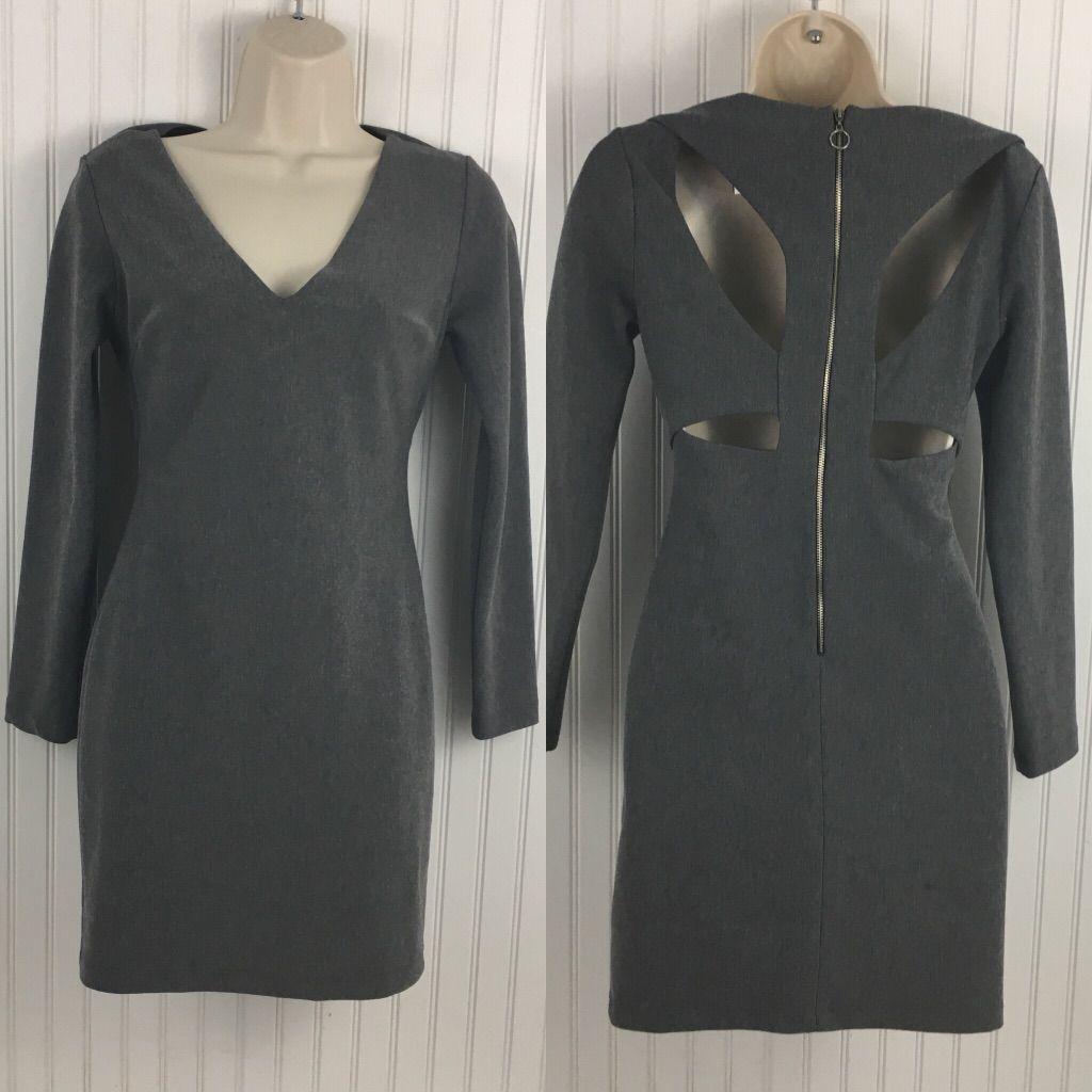 Zara Trafaluc Gray V-Neck Cutout Back Mini Dress