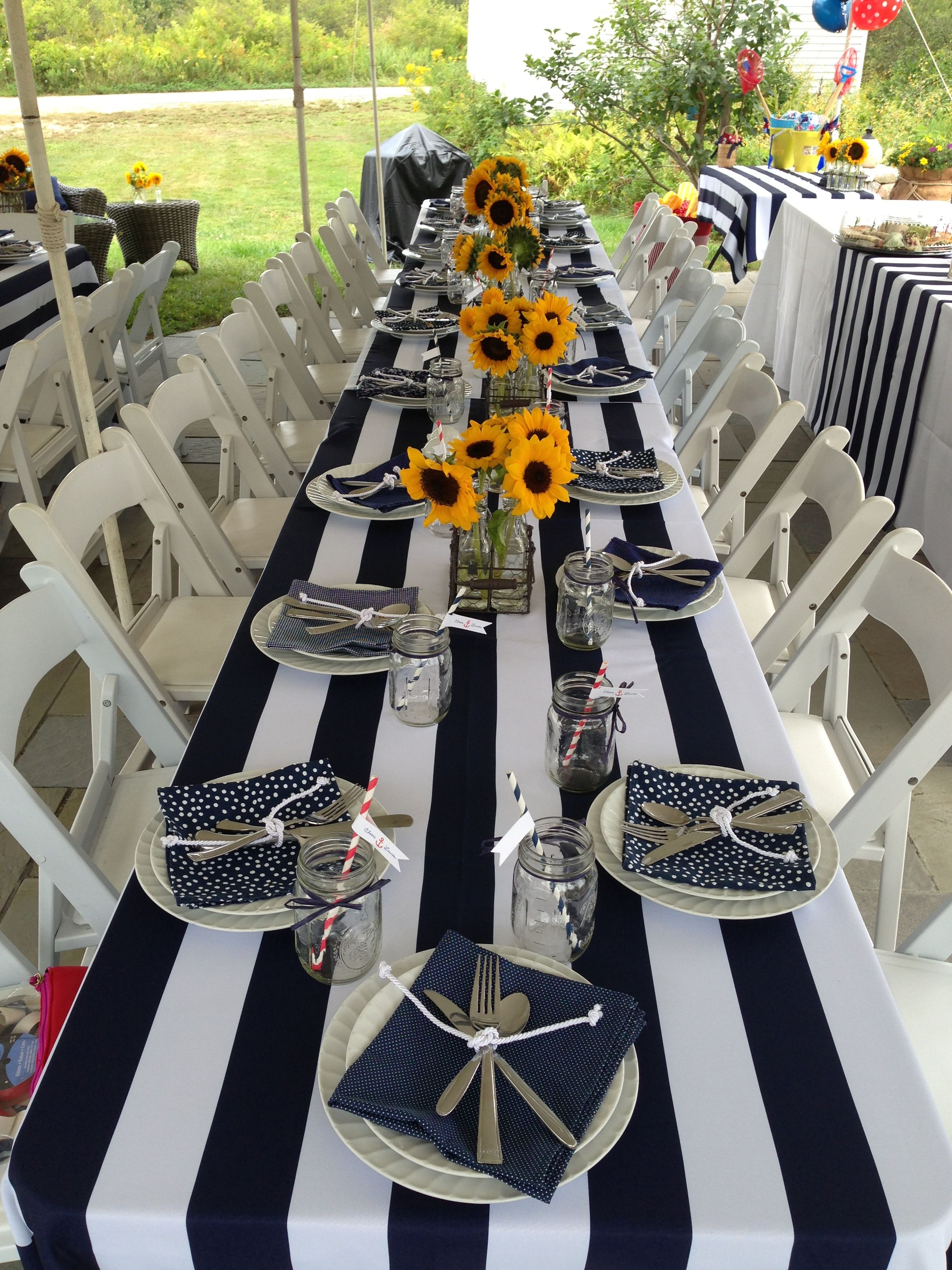 Nautical Coastal Bridal Shower Navy White With Images Bridal Shower Table Runner Beach Bridal Showers Gold Bridal Showers