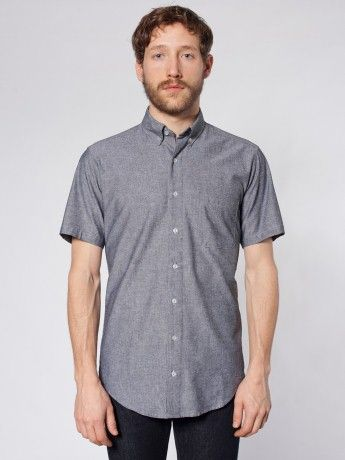 Chambray Short Sleeve Button-Down Shirt | Short Sleeves | Men's ...