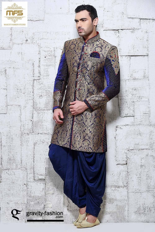 Blue Dupion Silk Designer Sherwani 618048   Pinterest   Indian groom ...