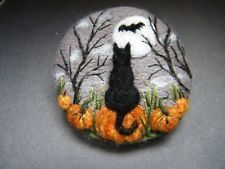 Handmade needle felted brooch 'The Cat and the Bat in Pumpkin Patch' by T Dunn #needlefeltedcat