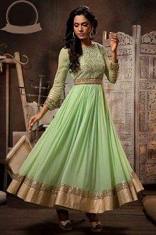 Green Semi Stitched Anarkali Salwar Kameez