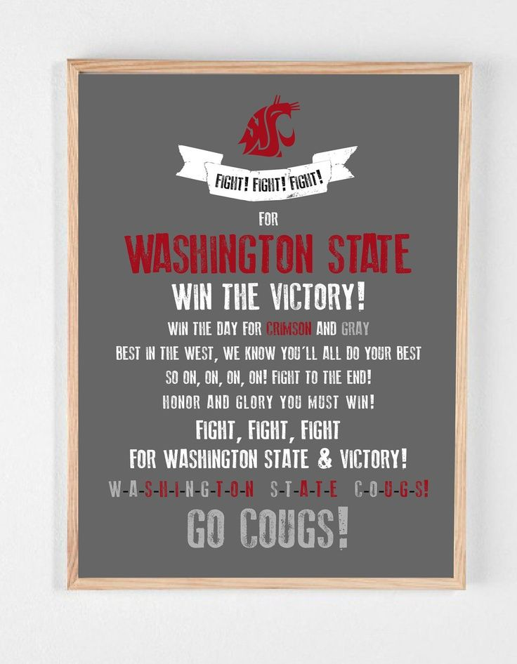 graphic about Fight Song Lyrics Printable named Picture outcome for wsu overcome tune lyrics Shift Cougs