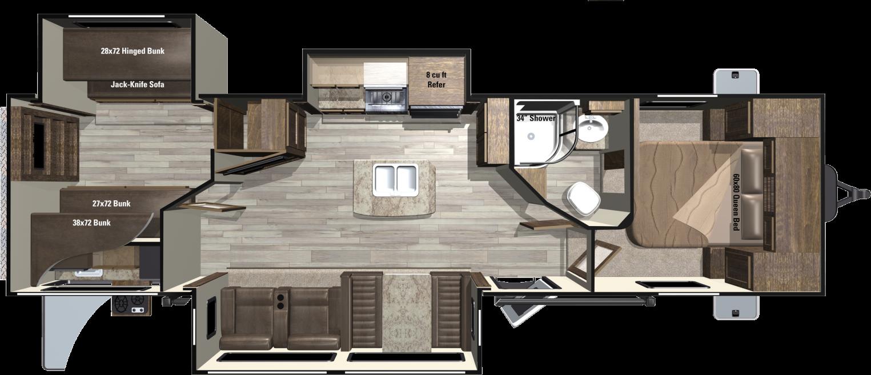 Light Bhts Floorplan Travel Trailers Trailer Floor Plans Bunkhouse