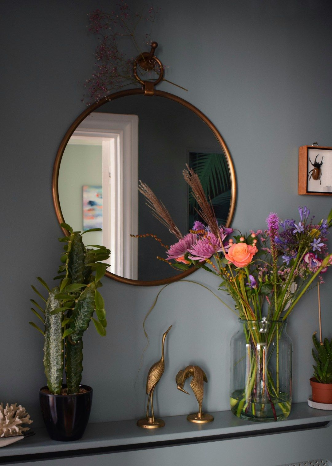 vintage bohemian eclectic style hallway interiors farrow ball Oval Room Blue faux cactus brass mirror #hallway