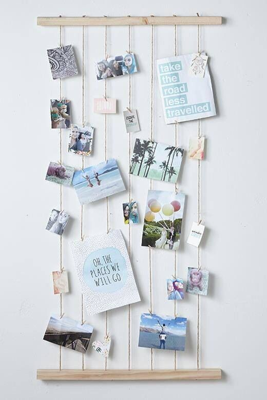 Alysiasquire ideas pinterest photo displays diy for Cute picture hanging ideas