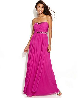 ♥Decode Strapless Jewel-Trim Ruched Gown♥