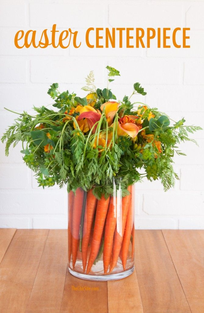 Love this idea for an Easter Centerpiece made with carrots and greenery