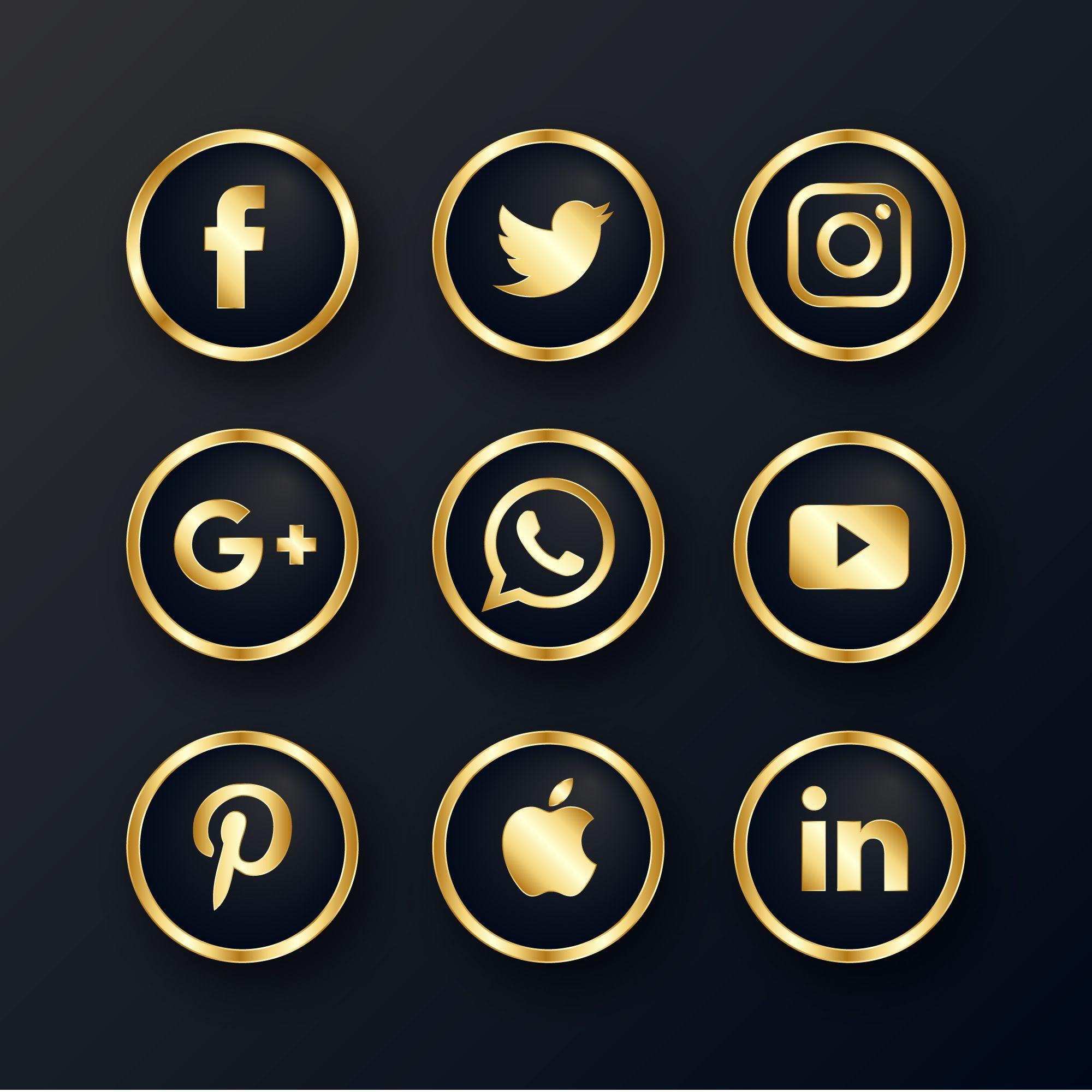 دانلود رایگان آیکن طلایی و لوکس شبکه های اجتماعی اطلاعات