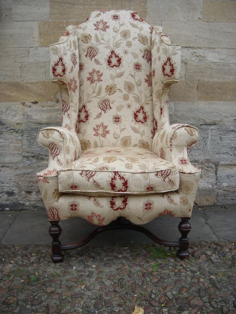 William U0026 Mary Style High Wing Back Armchair (Dutch Influence)