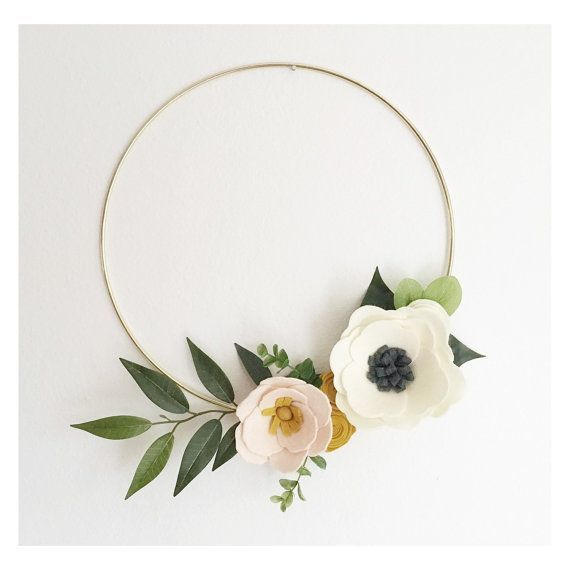 Photo of Wreath || Wreaths || Flower Wreath || Spring Wreath || Felt Flower Wreath || Modern Wreath || Wedding Wreath || Wreath Decor || Gold Wreath