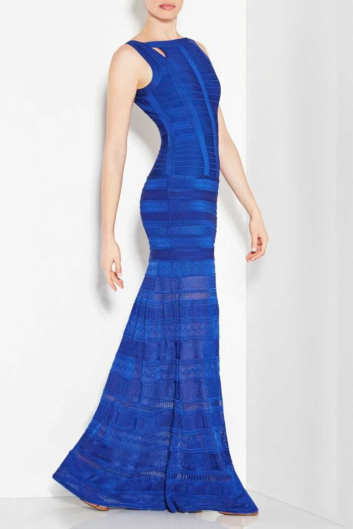 Herve Leger Cutouts Alejandra Pointelle Royal Blue Bandage Long Dress