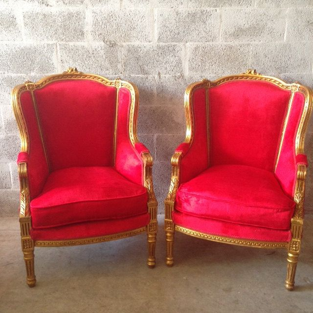 Antique French Louis XVI Chairs 2 Available Bergere Fauteuil Wingback Gold  Leaf Gild ReUpholster Red Hot