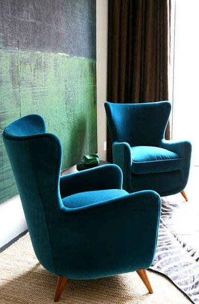 Blue Velvet Chairs Love The Retro