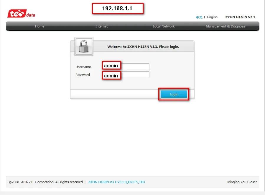شرح عمل اعدادات راوتر We Zxhn H168n V3 1 تذكرة نت Admin Password Home Internet Admin Login