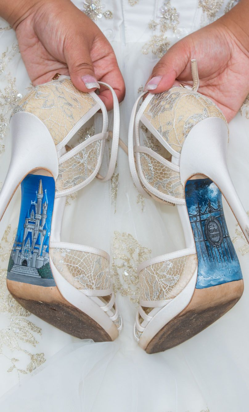 f6cc96cffce3 A Walt Disney World bride s Cinderella Castle and Haunted Mansion custom  heels