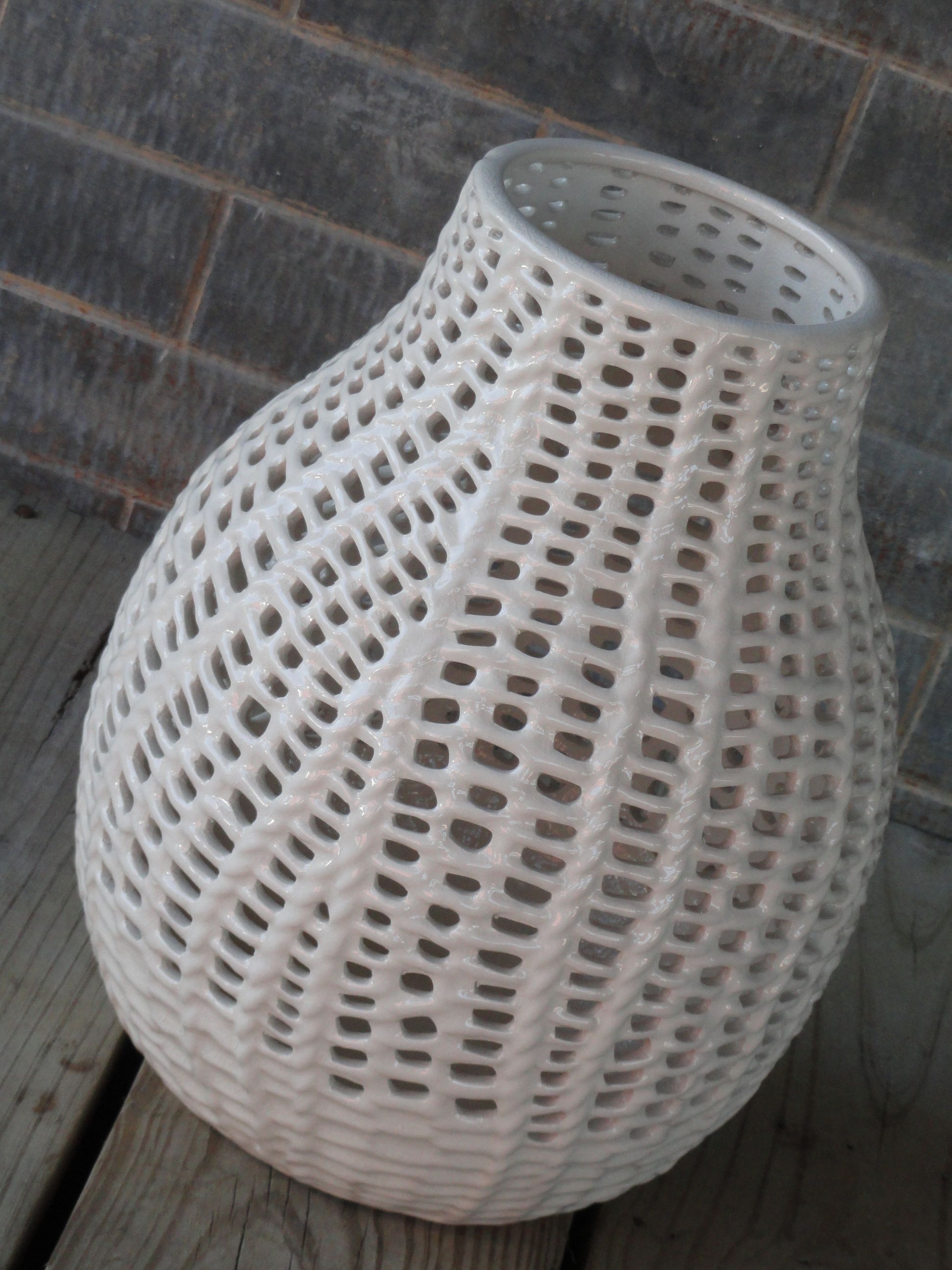 Woven Ceramic Vase Texture Is Beautiful W H I T E S