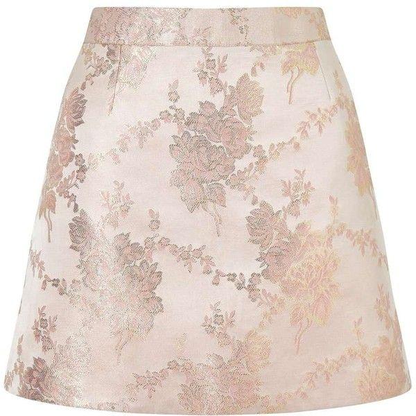 Miss Selfridge PETITE Jacquard Skirt (695 ZAR) ❤ liked on Polyvore featuring skirts, mini skirts, gold color, petite, pink mini skirt, pink skirt, miss selfridge, miss selfridge skirts and short pink skirt