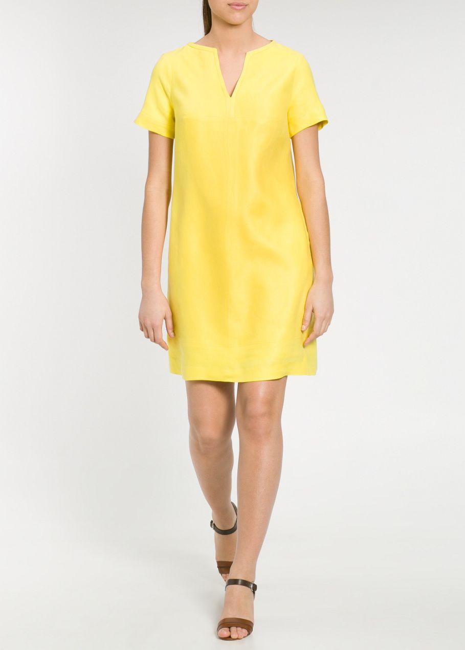 Vestido Lino Amarillo Violeta By Mango Mango Clothing Clothes Short Sleeve Dresses