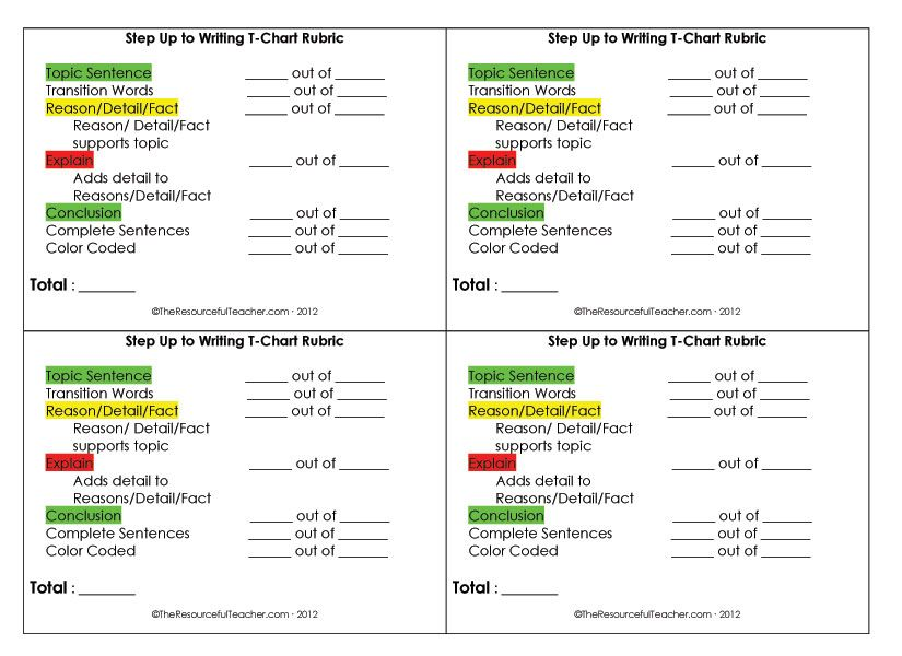 Step Up To Writing TChart Rubric  Blog Posts