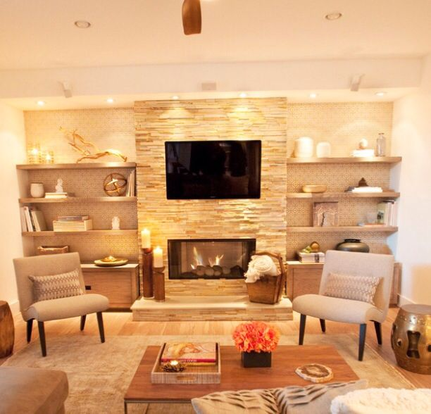 Ideas for contemporary fireplace with built-ins and TV nook ...