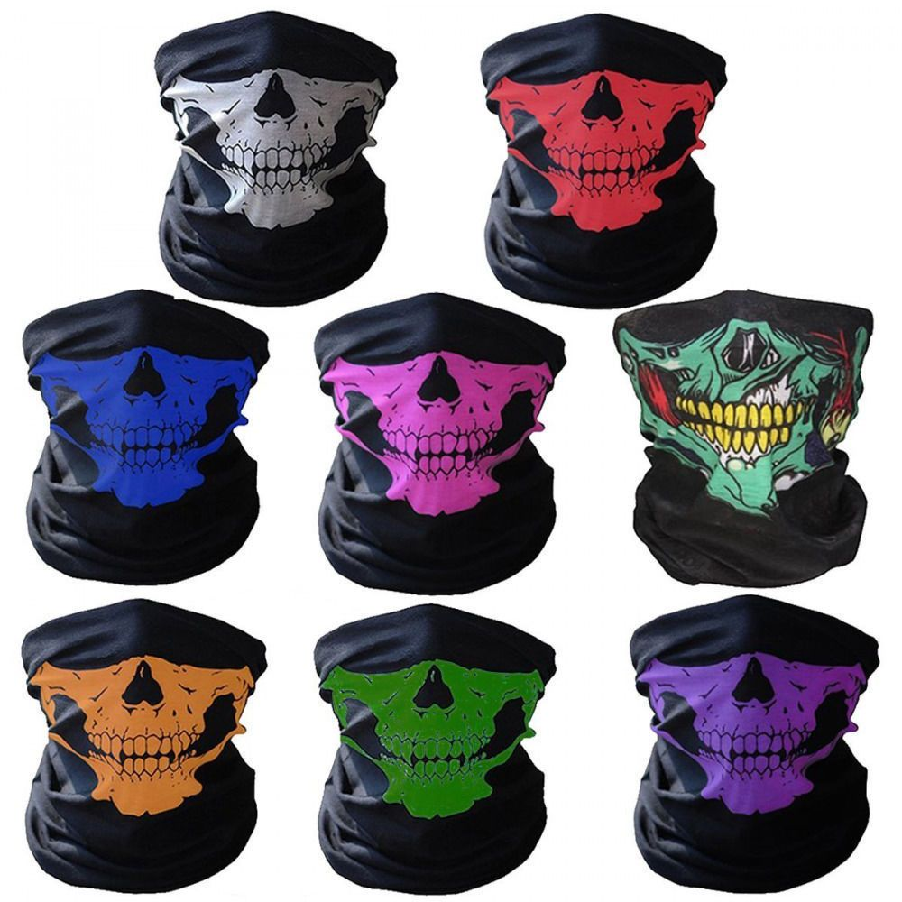 WHITE GRIM REAPER SKULL SNOOD NECKTUBE NECKWARMER FACE MASK BIKER PAINTBALLING