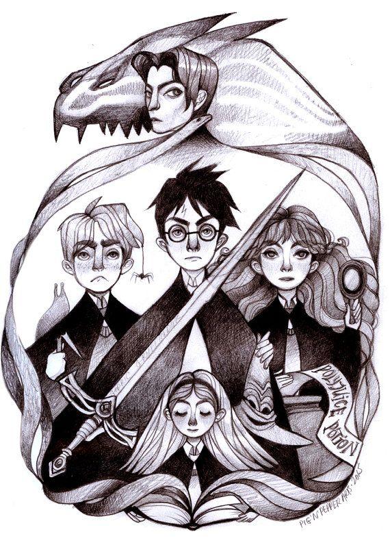 Harry Potter E La Camera Dei Segreti Illustrazione Di Disegno Matita Originale