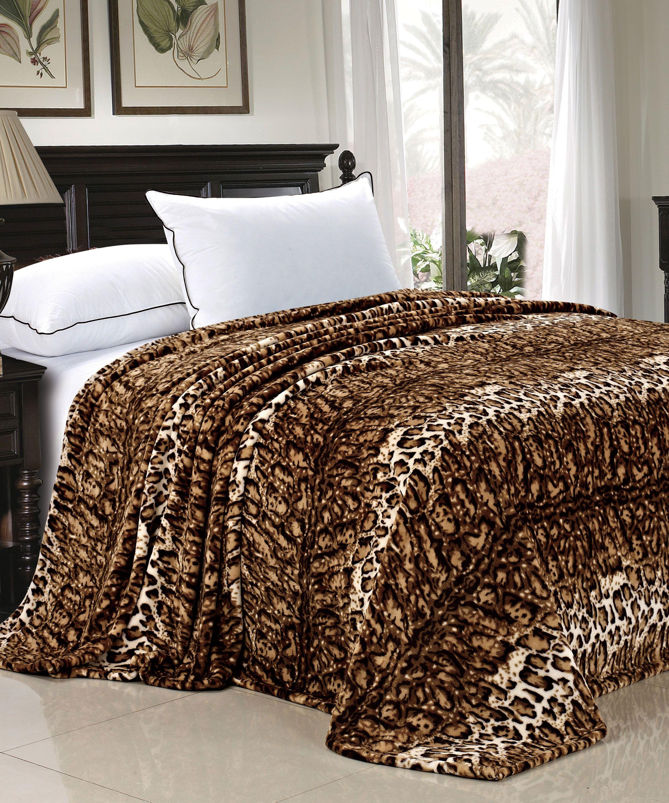 Natural leopard animal safari printed flannel fleece bed blanket