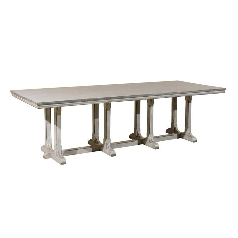 Large European Grey Painted Wood Rectangular Dining Table Dining Table Table Painting On Wood
