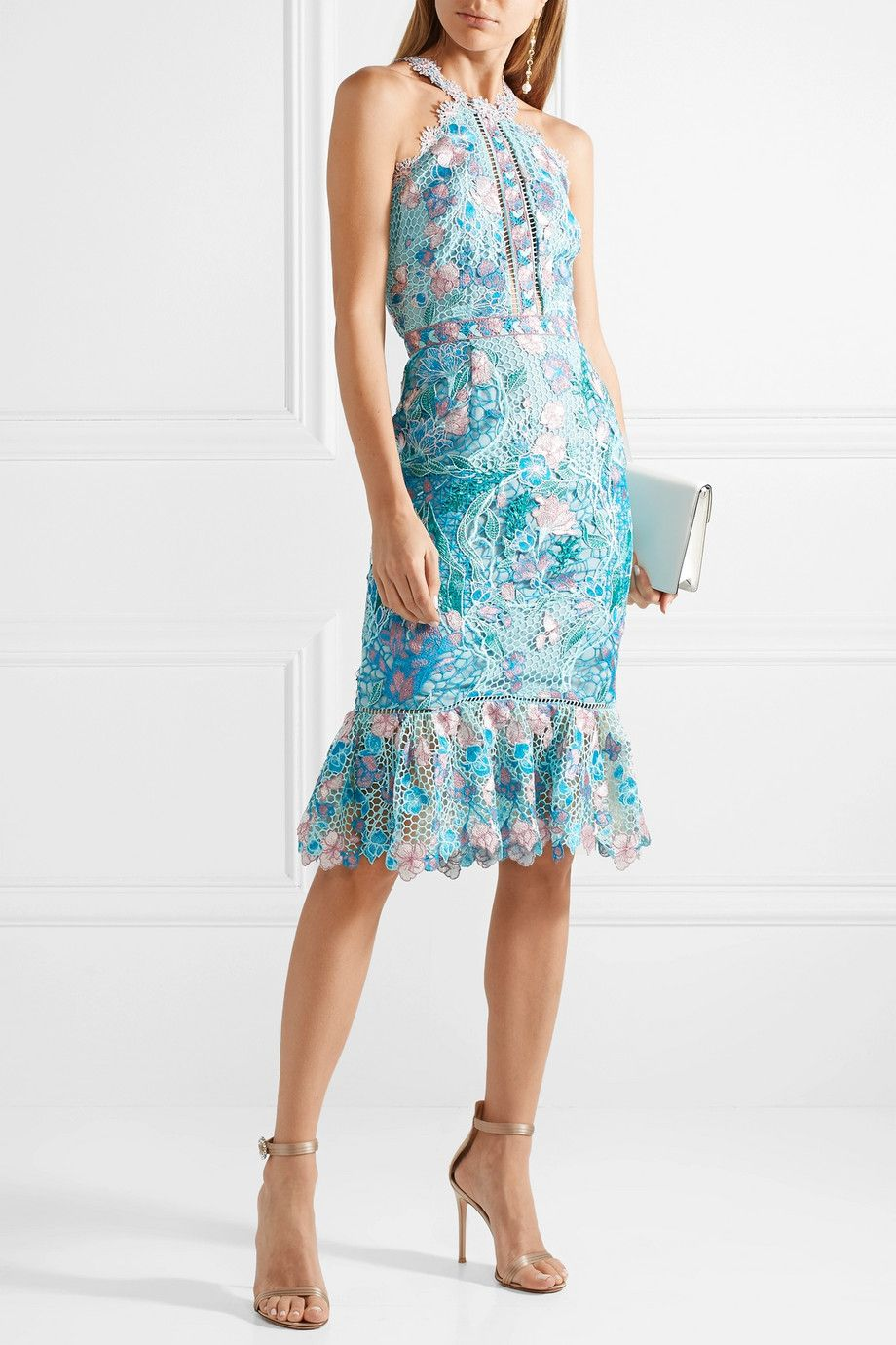 Ruffled Embroidered Guipure Lace Dress - Light blue Marchesa q8sQlGcPQR