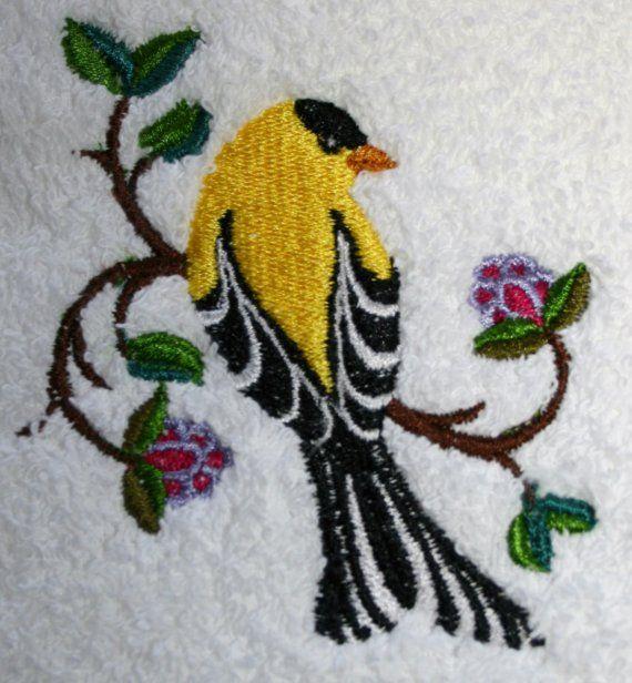 Goldfinch Towel - Bird Towel - Embroidered Towel - Flour Sack Towel
