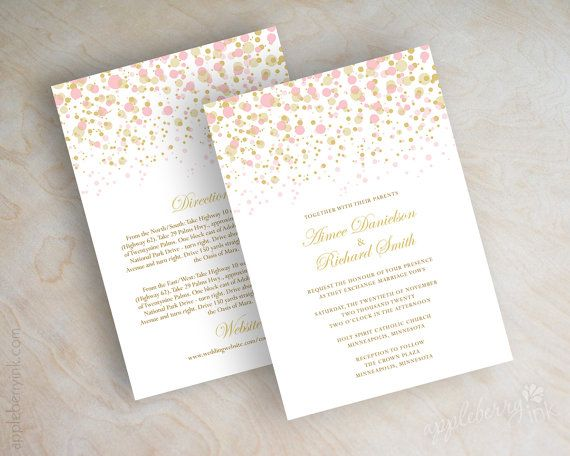 Blush pink and gold polka dot wedding invitations, modern, polka